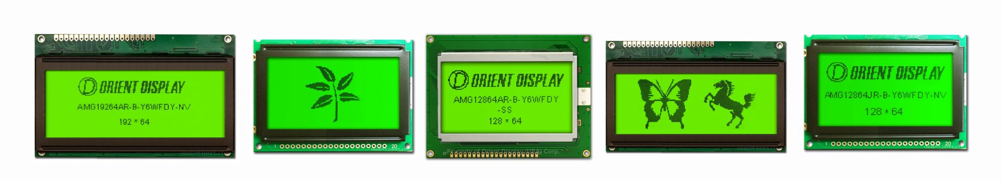Orient Display: COB/Chip on Board Graphic LCD Display, multiple resolution choices, STN Positive, Yellow Green LED Backlight