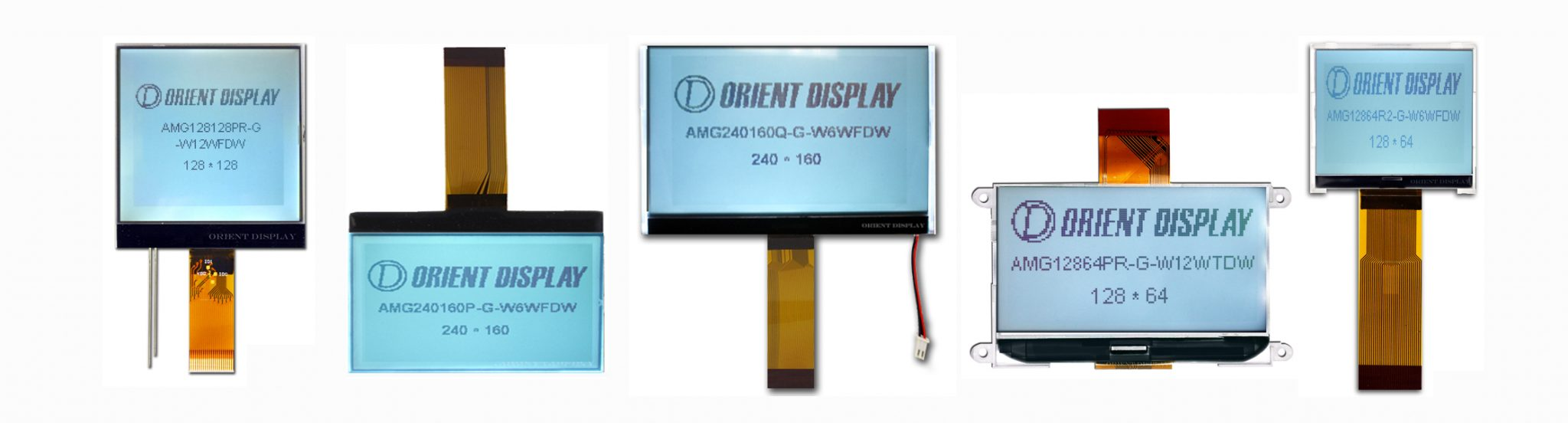 Orient Display: COG/Chip on Glass Graphic LCD Display, multiple resolution choices, FSTN Positive, White LED Backlight