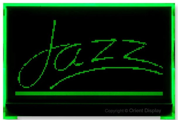 Orient Display Negative FSTN LCD with Green Backlight