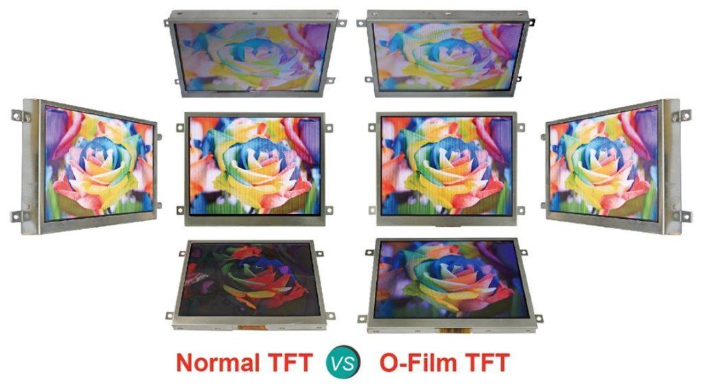 Orient Display: Normal TN TFT vs O-Film Applied TFT