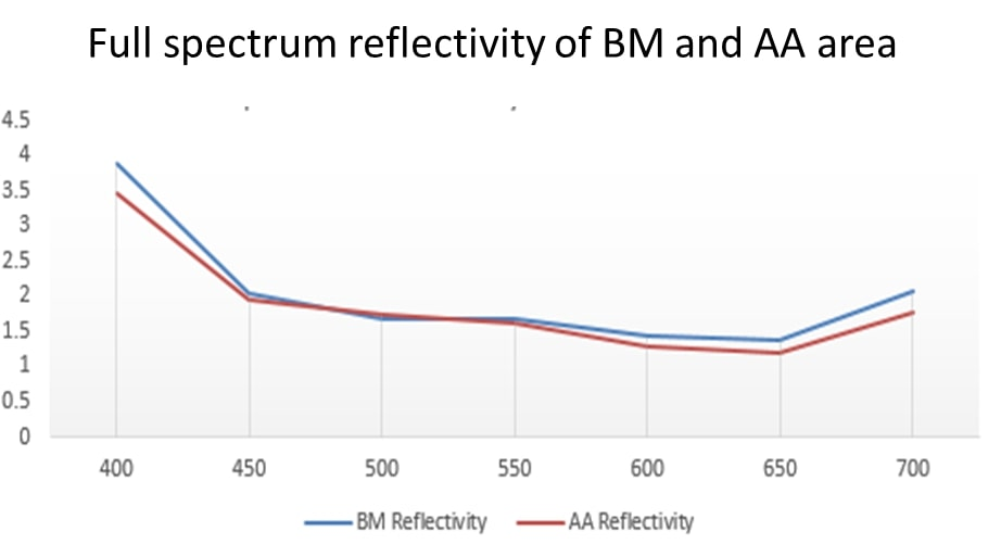 Orient Display: Full Spectrum Reflectivity of BM and AA Area