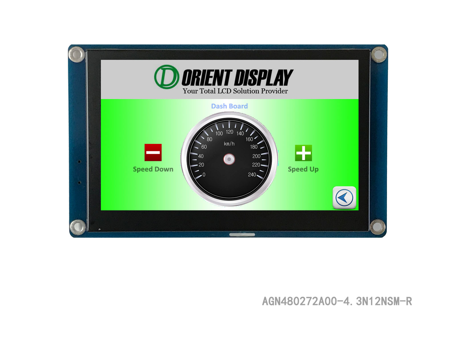 "AGN480272A00-4.3N12NSM-R (4.3"" Full-Graphic Display with Resistive TP)"