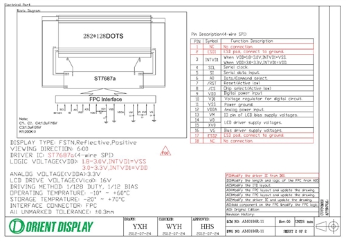 AM0186R-11 (282x128 dots COG LCD Module)