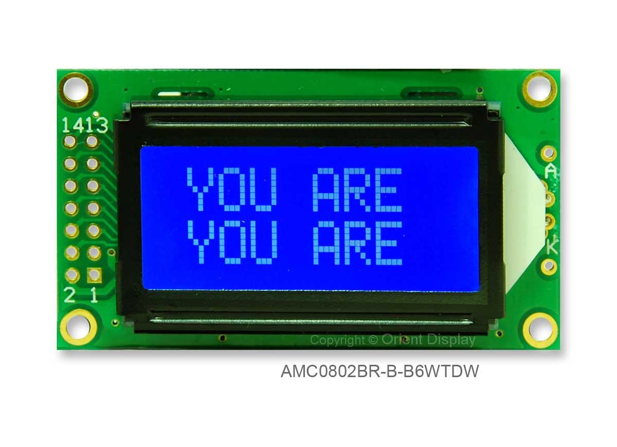 AMC0802BR-B-B6WTDW (8x2 Character LCD Module)