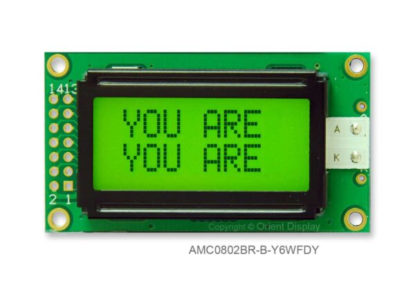AMC0802BR-B-Y6WFDY (8x2 Character LCD Module)