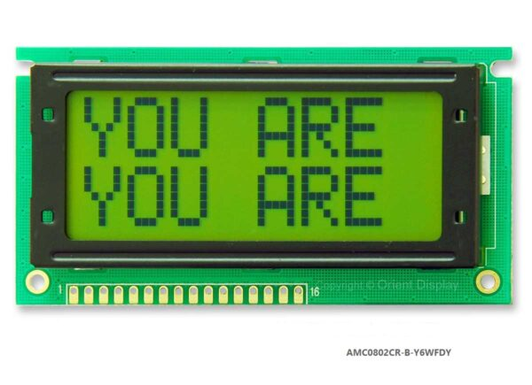 AMC0802CR-B-Y6WFDY (8x2 Character LCD Module)