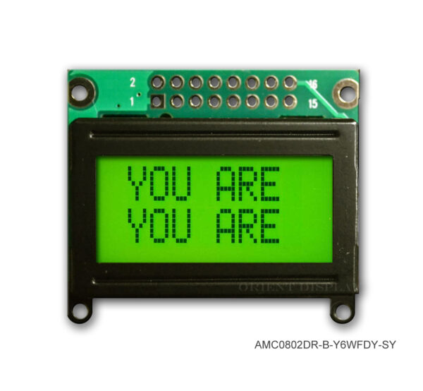 AMC0802DR-B-Y6WFDY (8x2 Character LCD Module)