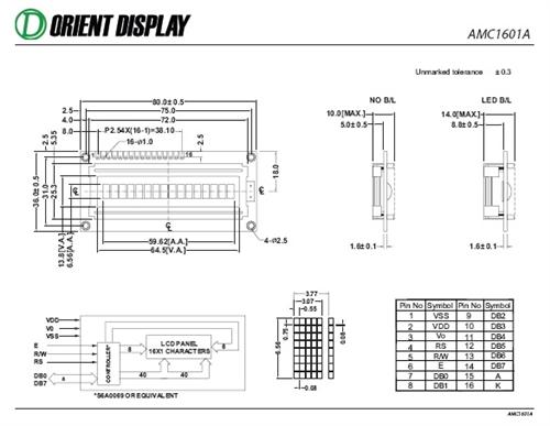 AMC1601AR-B-Y6NFDY (16x1 Character LCD Module)
