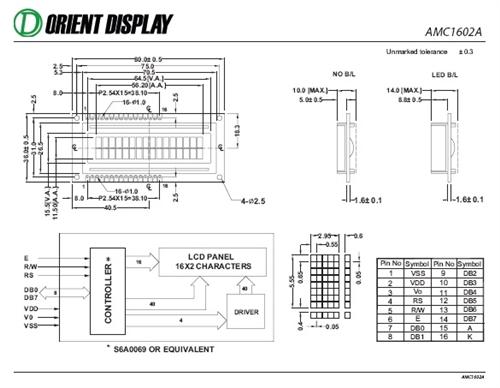 AMC1602AR-B-B6WTDW (16x2 Character LCD Module)