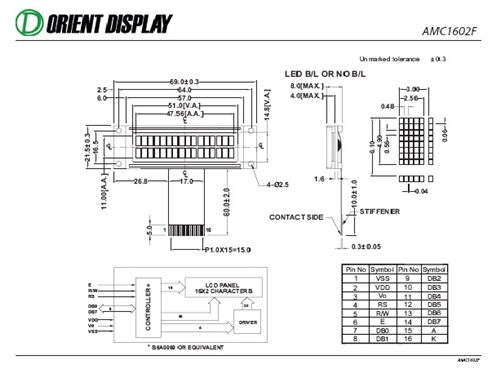 AMC1602FR-B-B6WTDW (16x2 Character LCD Module)