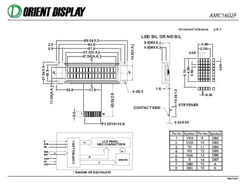 AMC1602FR-B-Y6WFDY-SP03 (16x2 Character LCD Module)