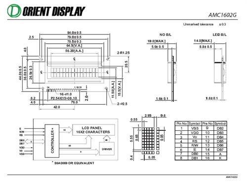AMC1602GR-B-Y6NFDY (16x2 Character LCD Module)