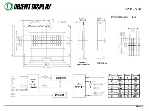 AMC1604CR-B-B6WTDW (16x4 Character LCD Module)