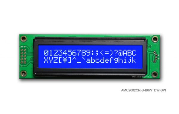 AMC2002CR-B-B6WTDW-SPI (20x2 Character LCD Module - SPI Interface)