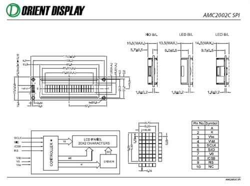 AMC2002CR-B-B6WTDW-SPI (20x2 Character LCD Module - SPI Interface)