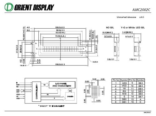 AMC2002CR-B-G6WFDW (20x2 Character LCD Module)
