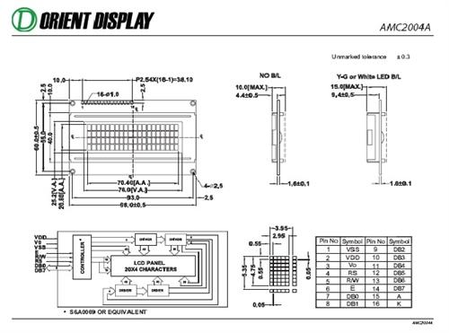 AMC2004AR-B-Y6WFDY (20x4 Character LCD Module)