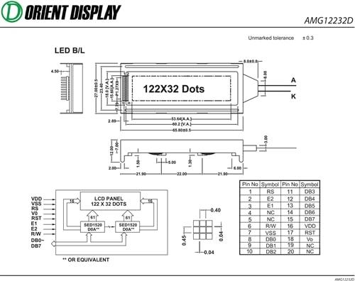 "AMG12232DR-B-G6WFDW (2.2"" 122x32 Graphic LCD Module)"