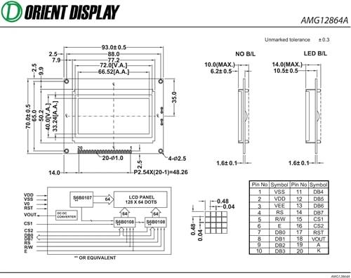 """AMG12864AR-B-Y6WFDY-AT-NV-Y (2.9"""" 128x64 Graphic LCD Module)"""