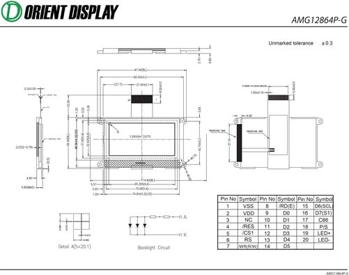 """AMG12864PR-G-B12WTDW (2.9"""" 128x64 COG LCD Module)"""