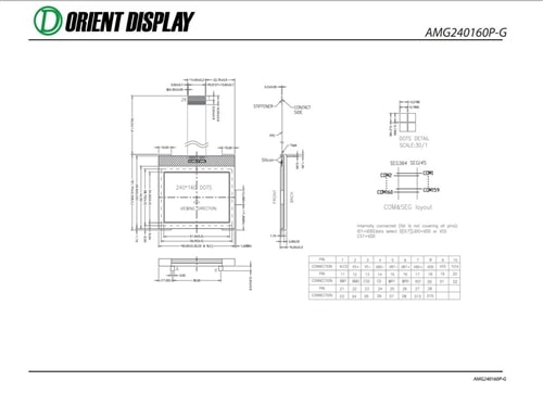 "AMG240160P-G-W6WFDW (2.5"" 240x160 COG Graphic LCD Module)"
