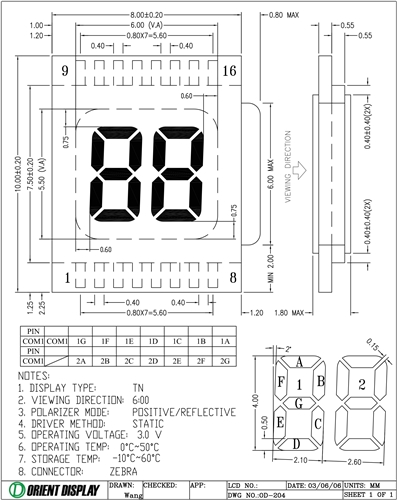 OD-204 (2-Digit LCD Glass Panel)
